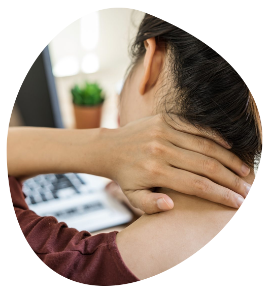 close up of woman's hand rubbing back of neck