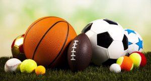 assorted sports balls sitting on grass