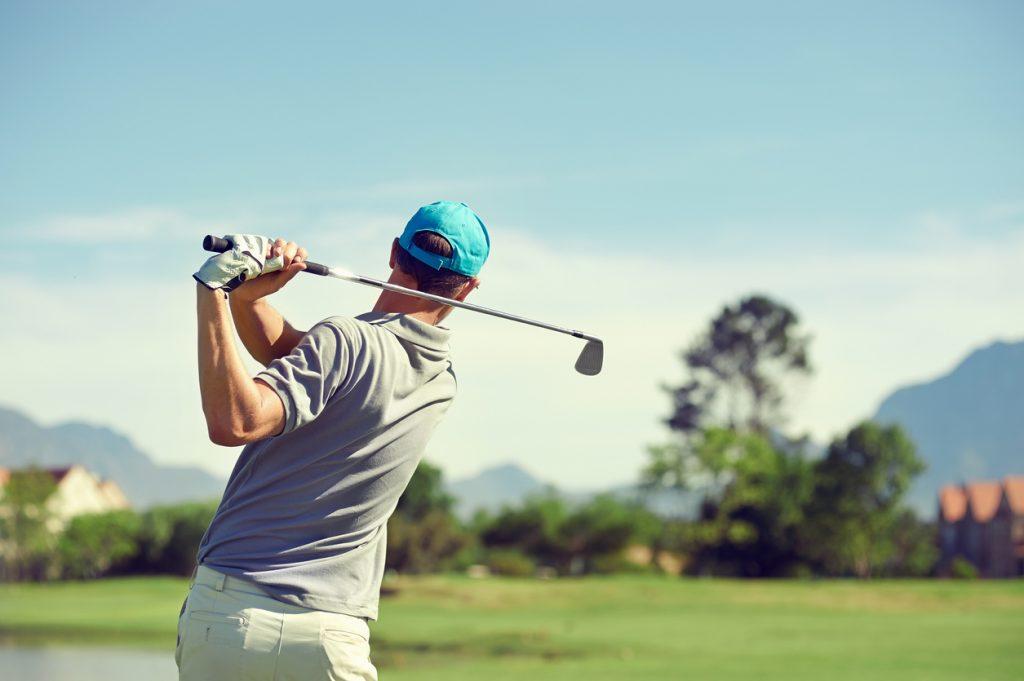 golfer hitting shot